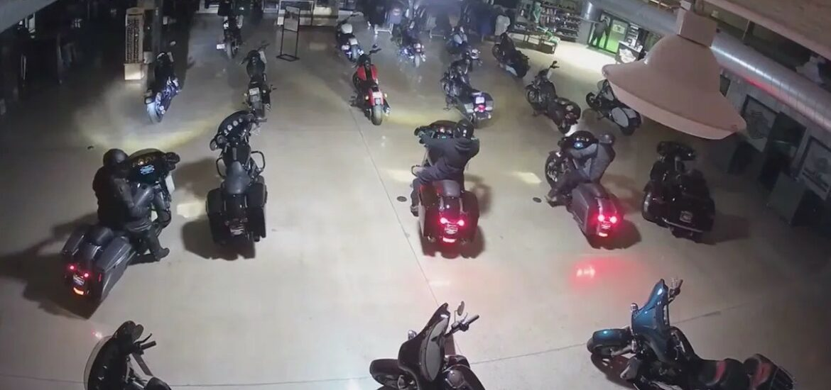 Indiana burglars steal Harley-Davidson motorcycles, drive out through front door